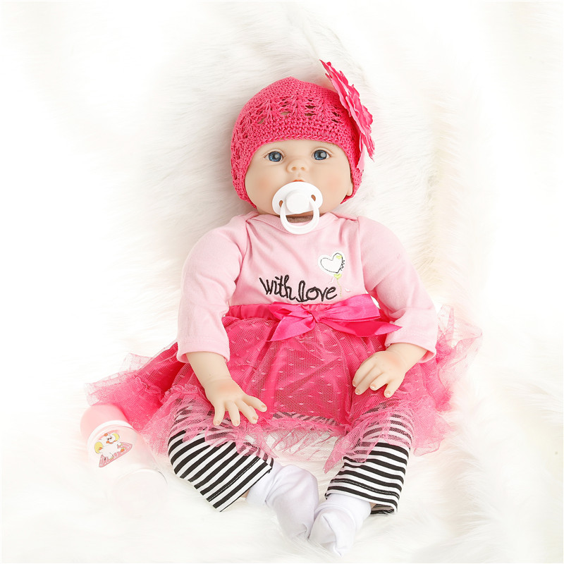 sanydoll hot new reborn silicone baby children s toys magnet pacifier 22 inch 55 cm cute cowboy dress doll SanyDoll 22 inch 55 cm baby reborn Silicone dolls, lifelike doll reborn Red rose princess dress cute doll