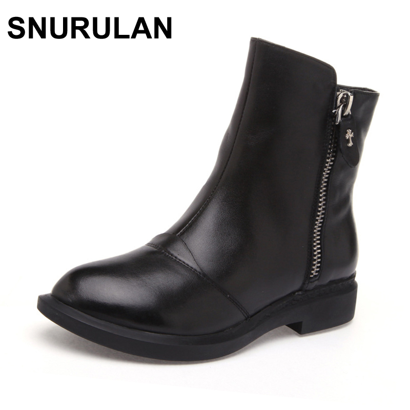 купить SNURULAN spring/autumn new fashion Side zipper Handmade genuine leather boots womens winter boots women Ankle boots women shoes по цене 2660.62 рублей