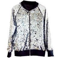 Fashion Women Shiny Sequin Coat Bomber Jacket Long Sleeve Zipper Loose Outwear