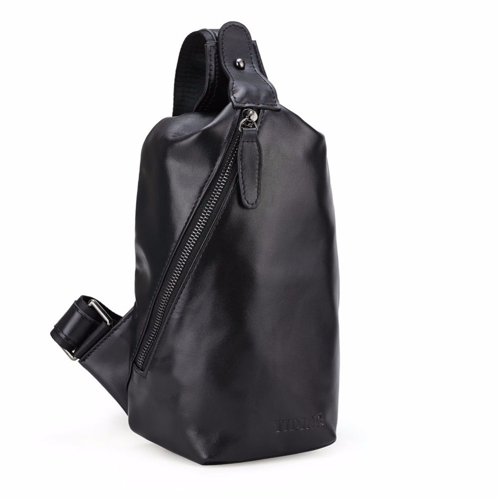цены TIDING men real genuine leather sling bag small backpacks single strap shoulder bag chest bag black 31761
