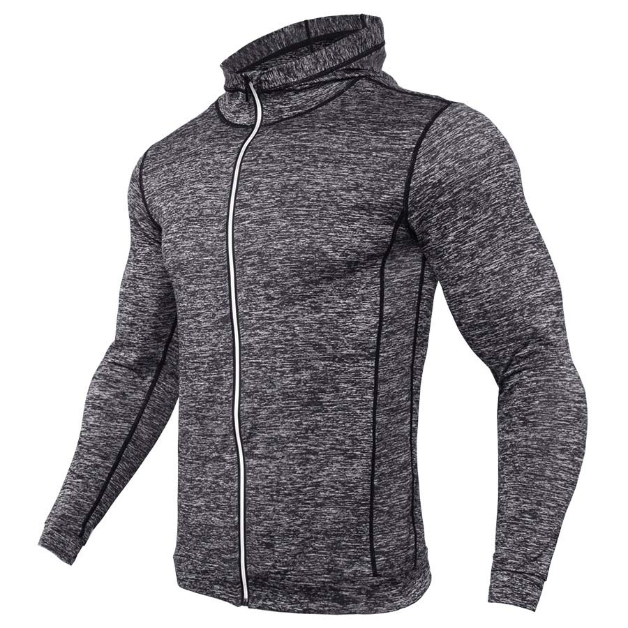 Thin Hooded Mens Running Jacket Zipper Fitness Top Bodybuilding Gym Clothing Hoody Coat Compression Tight Workout Hooded Jackets