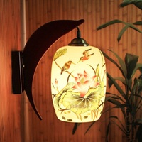 Loft retro lamp Chinese ceramics wall light dining room restaurant aisle corridor pub cafe wall lamp bar wall sconce