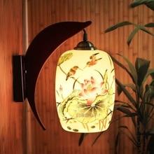 Loft retro lamba Çin seramik duvar lambası yemek odası restoran koridor koridor pub cafe duvar lamba çubuğu duvar aplik