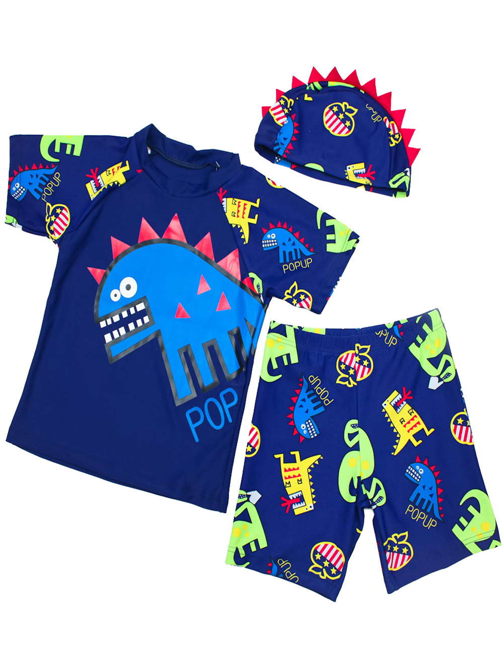 260a78cc65e Aliexpress.com   Buy 2018 2 7Y Children Baby Swimming Suit Dinasoal Pattern  Boys Swimsuit Beachwear Kids Bathing Suits Top Shorts with Hat 3 Colors  from ...