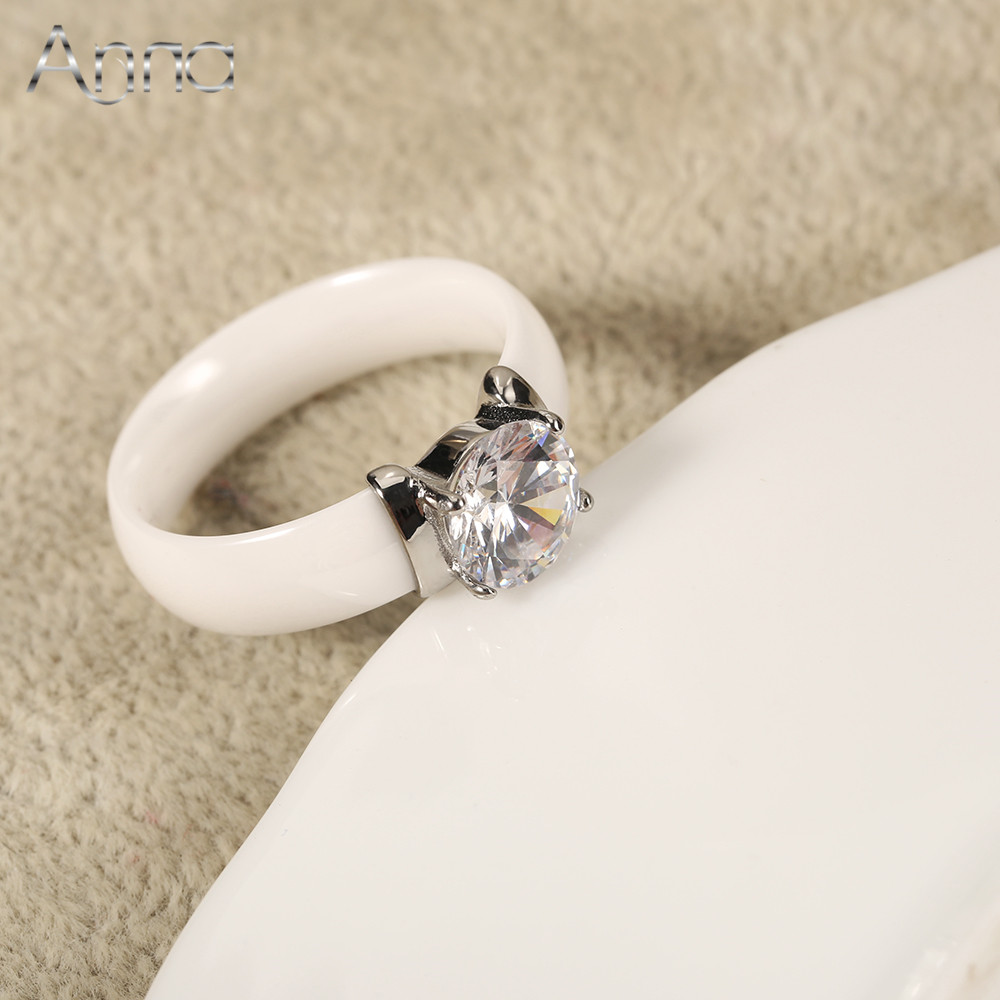 AAmpN New Arrival Ceramic Rings For Women Huge Zircon Cabochon