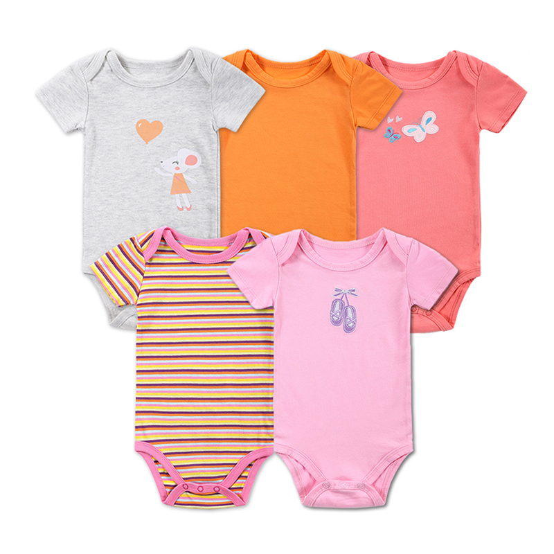 5 st / lot Detaljhandel Baby Girl Kläder Tecknad Baby Bodysuit Girl Boy 0-12M Infant Short Sleeve Creeper Baby Boy Girl Body Suit