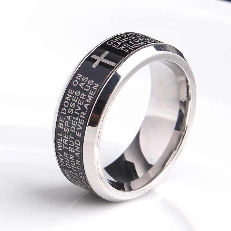 free shipping 8mm black rotate English Bible cross 316L Stainless Steel wedding rings for men women wholesale