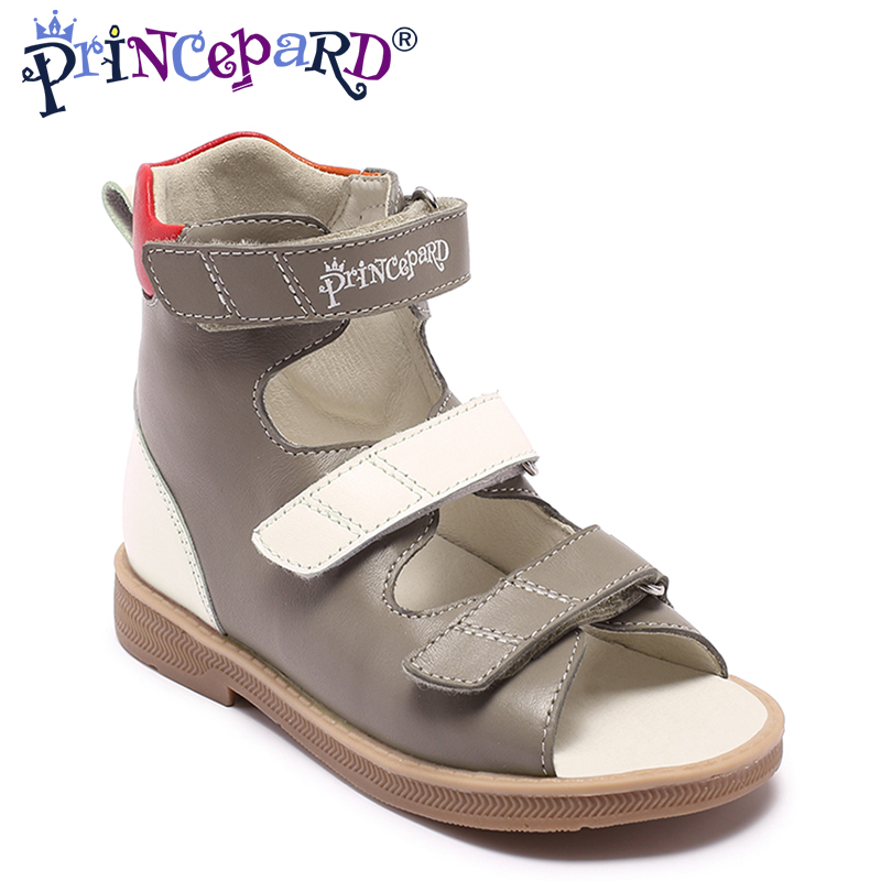 Princepard Brand New kids summer shoes hook loop closed toe toddler girls sandals orthopedic sport genuine leather baby girls