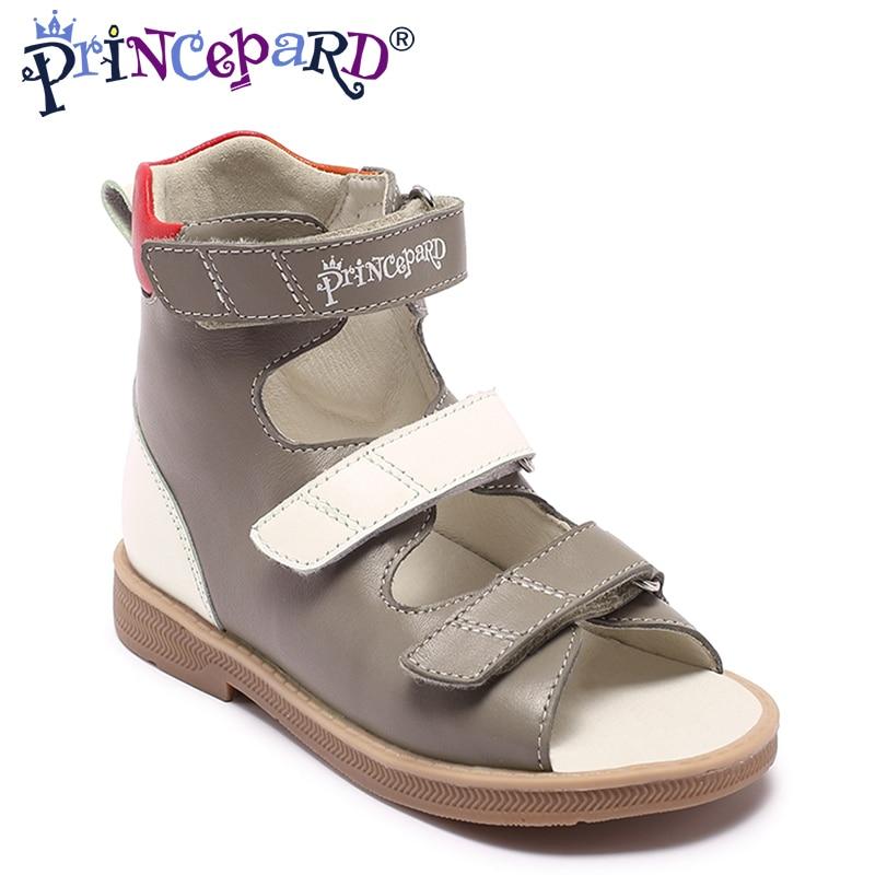 Princepard marque nouveau enfants chaussures d'été crochet boucle fermé orteil bambin filles sandales orthopédique sport en cuir véritable bébé filles