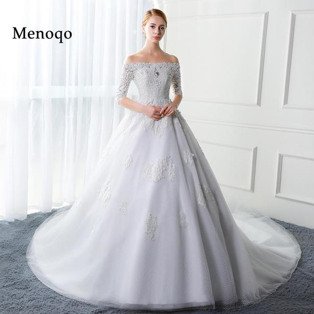 Menoqo Vestido De Casamento Bridal Gown Sexy Wedding Dress Turkey Ball Half Sleeve Appliques Pearls