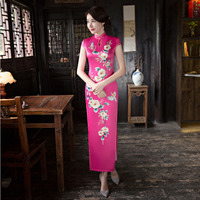 Rose Long Cheongsam Dress Chinese Silk Party Dresses Traditional Women Clothing Qipao Pattern Oriental Wedding Gowns