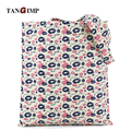TANGIMP 2017 New Heart Stars Lip Pattern Cotton Linen Canvas Bags bolsa compra plegable Eco Women Shoulder Bag Shopping Tote