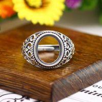 דקו 925 כסף עתיק אירוסין חצי הר טבעת עבור 11x13 מ