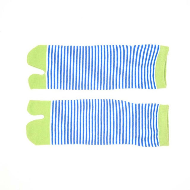 1 Pair Women's Striped Cotton Toe Socks 5