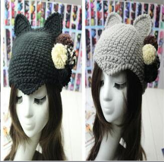 Korean lovely hair ball winter devil devil cat ears personality wool knitting hat female tide *new*