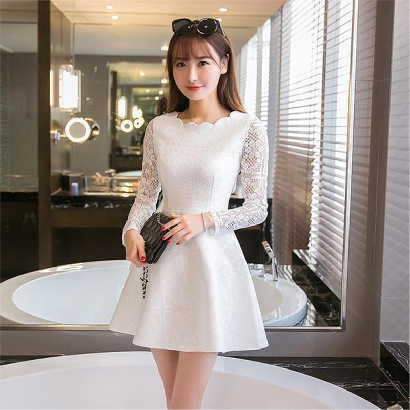 8d695ad795cc Lace Long Sleeve White Black Pink Mini Dress – greatdress.net