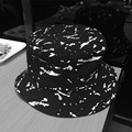 New Ink Jet Black White Personality Fisherman Hats For Men Women Cotton Foldable Bucket Hat Unisex Holiday Sun Cap [H112]