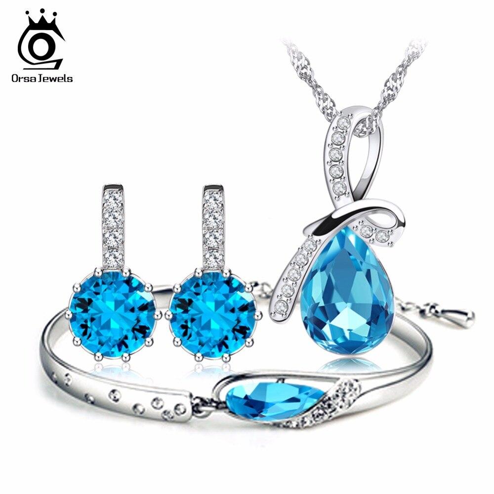 все цены на ORSA JEWELS Top Quality Blue Austria Crystal Jewelry Set Silver Color Fashion Ladies Jewelry Set OS44 онлайн