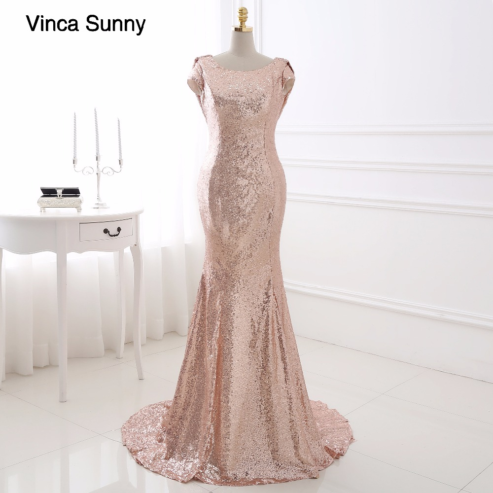 Real Photo Champagne gold Long Bridesmaid Dresses 2018 Sequined Short Sleeve Floor Length Dress For Wedding Party Dress ...