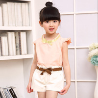 summer new girls clothes lace collar children clothing sets cotton princesss teeange suits 2pcs shirts girl+short ropa mujer new