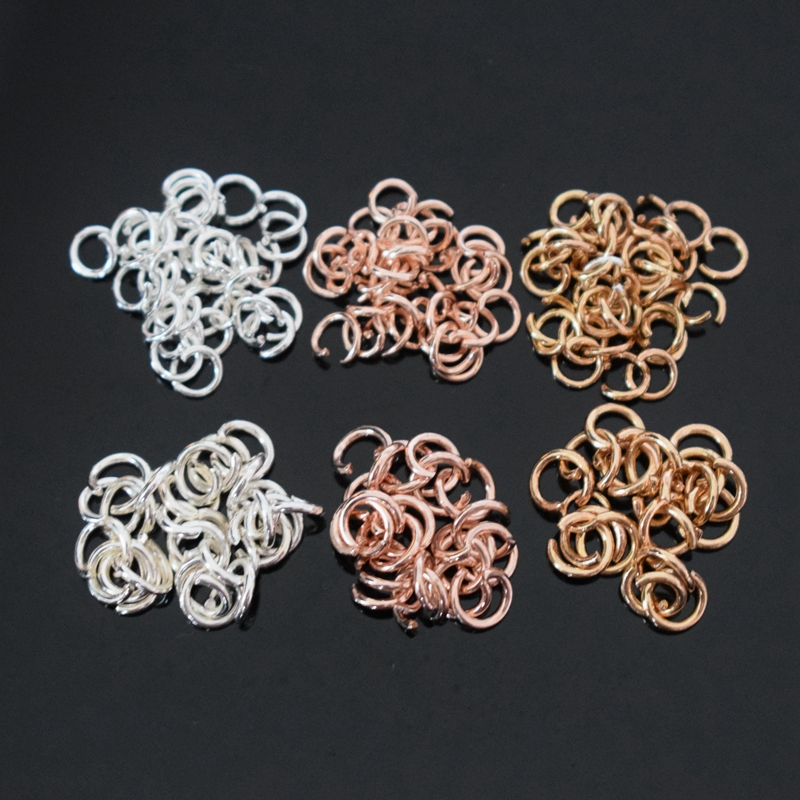 5mm 6mm Rose Gold Silver Stainless steel Open Jump Rings Split Rings Connectors Handmade Jewelry Making DIY Accessories 100pcs