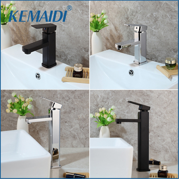 KEMAIDI Chrome Polished Tall Bathroom Basin Vessel Sink Mixer Black Faucet High Rise Water Tap 1
