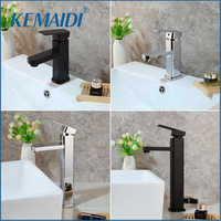 KEMAIDI Chrome Polished Tall Bathroom Basin Vessel Sink Mixer Black Faucet High Rise Water Tap