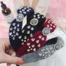 Korea Handmade Velvet Crystal Retro Hair Accessories Band for Girls Flower Crown Headbands For Women Star Hairbands