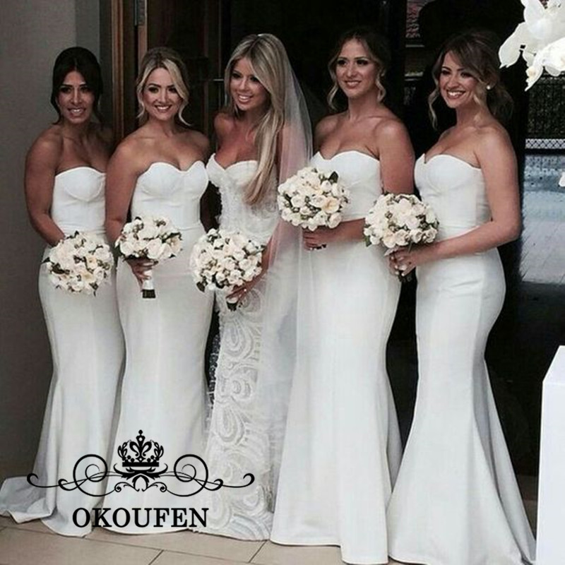 Sexy Sweetheart Neck Mermaid   Bridesmaid     Dresses   For Women 2019 Lace Up Back White Stain Long Maid Of Honor   Dress   Party Gown
