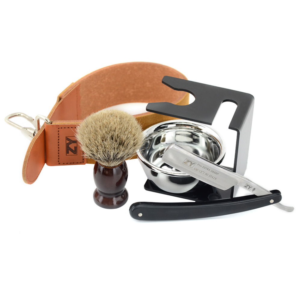 ZY Best Men Straight Shaving Razor Set ZY430+ Cut Throat +Leather Sharpening Strop+Stand+Shave Beard Badger Brush+Bowl men shaving straight razor cut throat knife gold dollar 400 1500 sharpening whetstone stone synthetic nylon brush strop