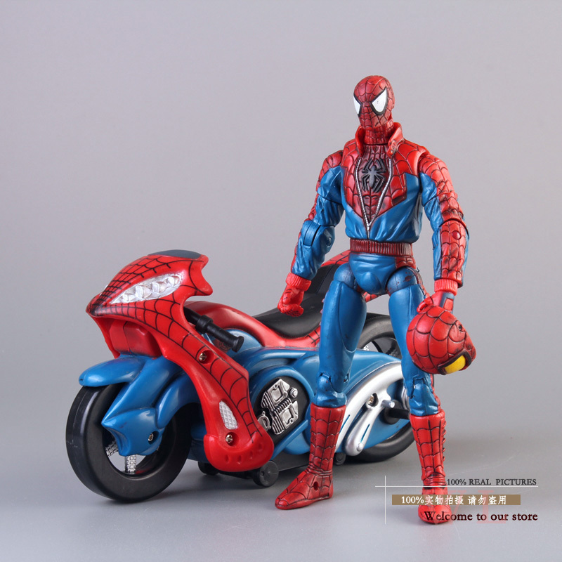 Free shipping marvel spiderman spider man with motorcycle pvc action figure collection model toy - Spider man moto ...