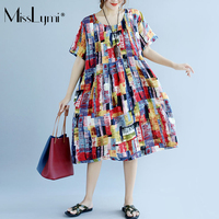 MissLymi XL 4XL Plus Size Women Vintage Dress 2017 Casual Loose Short Sleeve Cotton Linen Watercolor