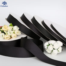 5 Yards/lot Breite 7mm/10mm/15mm/20mm/25mm/38mm Schwarz Band Ripsband Rolle Verpackung Für DIY Handmade Haarschmuck Bogen und Nähen