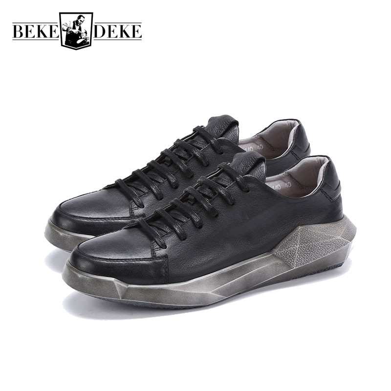 Vintage Genuine Leather Casual Shoes Men Lace Up Tenis Footwear Thicken Platform British Retro Hip Hop Male Shoes Large Size high quality hot sale men vintage genuine leather shoes washing distressed men s fashion flat shoes lace up male casual footwear