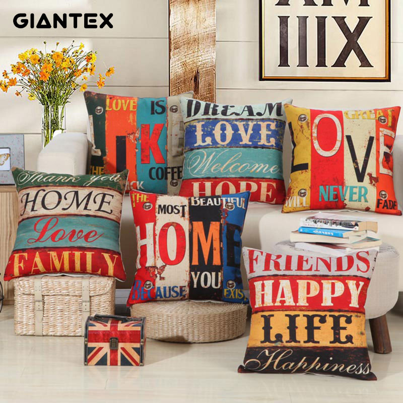 GIANTEX Retro Linen Cushion Cover Decorative Pillowcase Home Decor Sofa Throw Pillow Cover 45x45cm U1377 ...