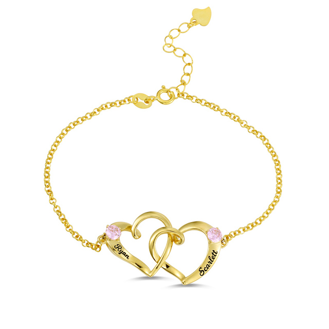 fbe9d6f474b Wholesale Double Heart Bracelet In Gold Color Birthstone Bracelet Two Hearts  Together Forever Bracelet Women