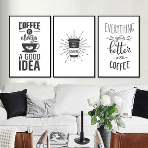 Image 2 - Coffee is Always a Good Idea Kitchen Wall Art Canvas Painting Nordic Black and White Poster for Home Decor Pictures Unframed