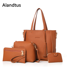 Alandtus Set 4 Pcs PU Leather Women Bags Casual Handbags Vintage Shoulder Bag Large Capacity Wallet Solid Color Card Holder lady clutch large capacity forever young wallet long simple women shoulder crossbody bag handbags card holder birthday bags
