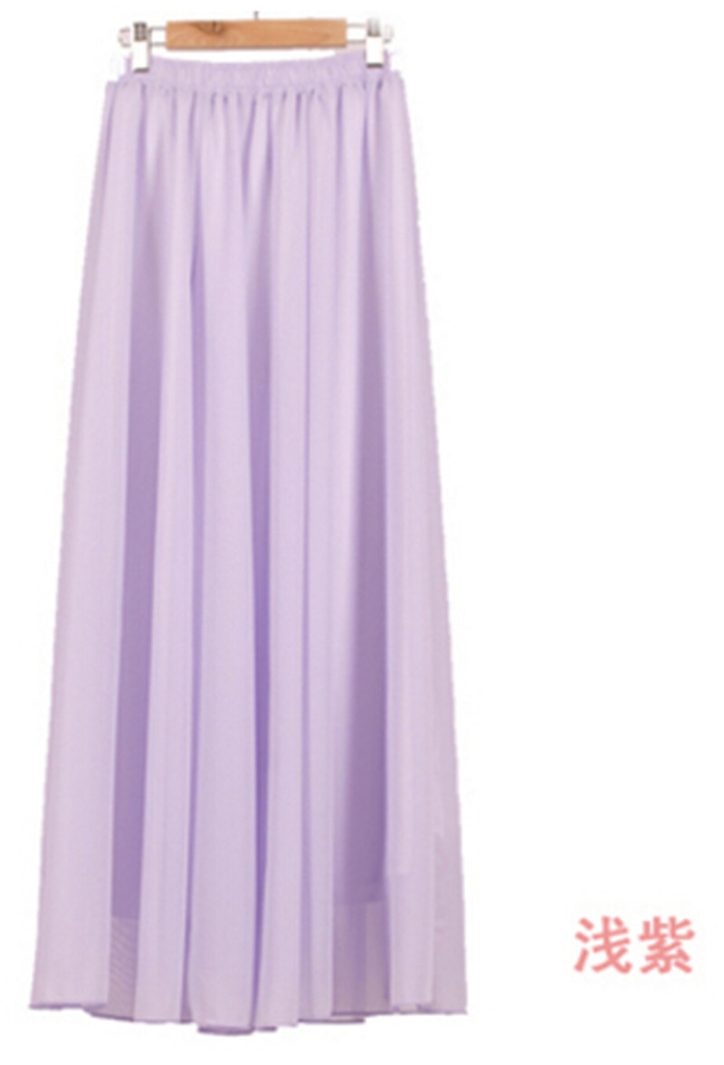 bd9f79e8dac0 Wholesale Women Chiffon Long Skirts Candy Color Pleated Maxi Skirts 2016  Spring Summer Skirts M L XL 17Colors ZY847-in Skirts from Women s Clothing  on ...