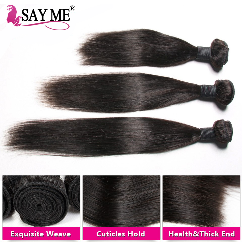 Säg mig brasilianska Straight Virgin Hair Weave Bundles 10-26 tums - Mänskligt hår (svart) - Foto 4