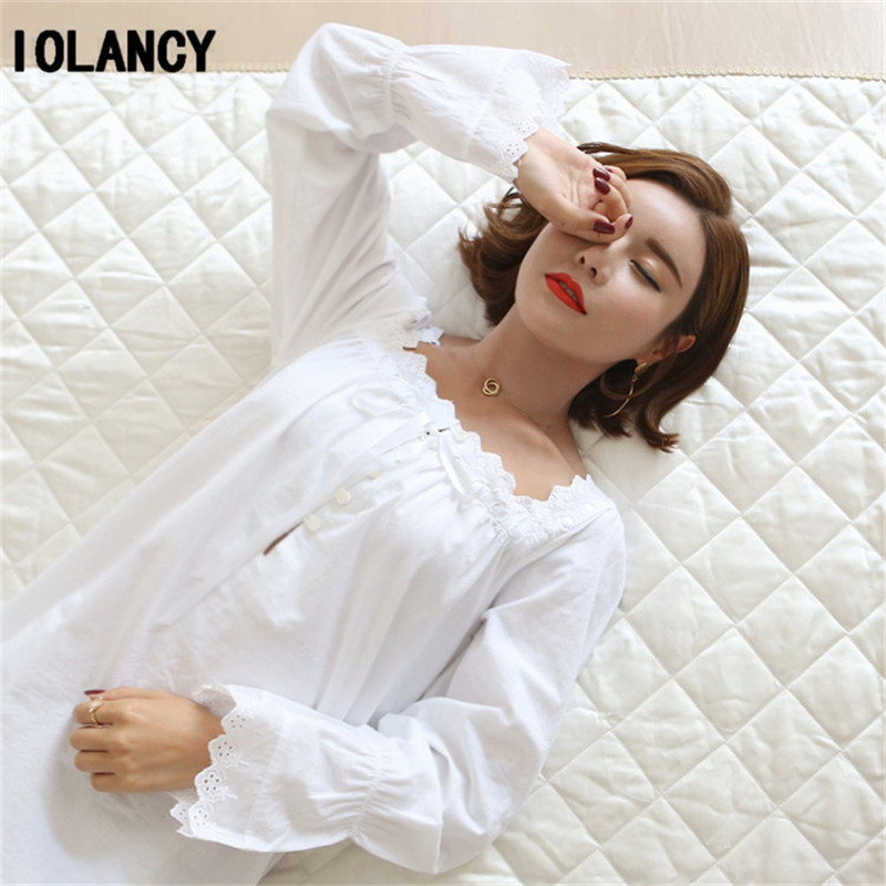 90205b54f2 Maternity Pajama Clothes Cute Princess White Long sleeved Nightgown Palace  Retro Loose Soft Cotton Pajamas Pregnant Women YFQ141-in Sleep   Lounge  from ...