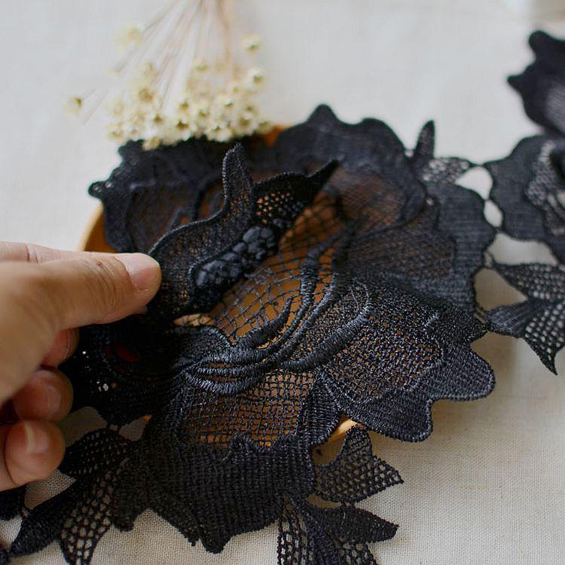 3Yards Black Lace Trim Two Layer Guipure Venice Venise Floral Pattern Applique Lace Trim Craft DIY Sewing Material Free Shipping in Lace from Home Garden