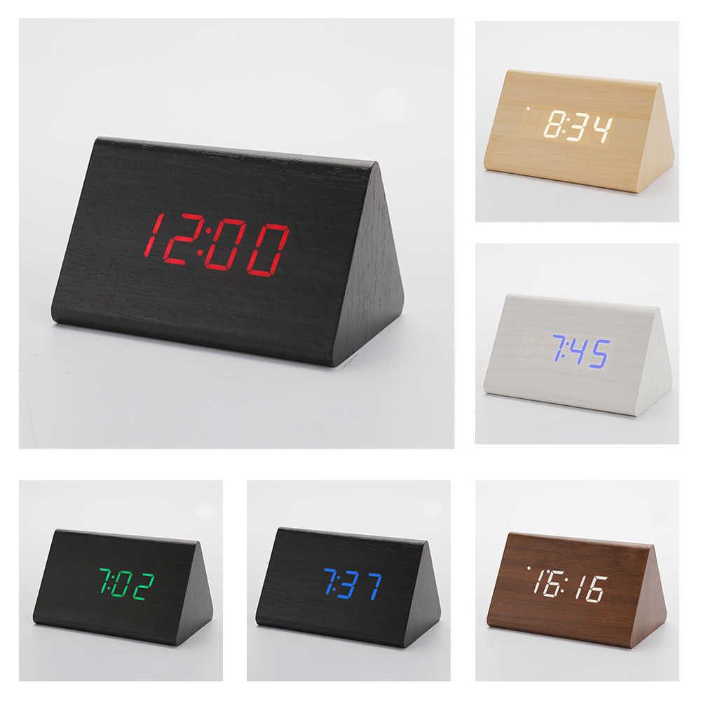Деревянный Настольный будильник цифровые часы контроль звука Повтор деревянные светодиодные часы термометр домашний Декор подарок на день рождения