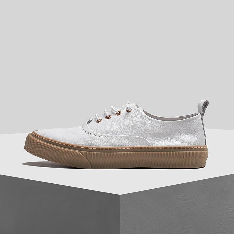 ของแท้หนัง breathable แบนด้านล่างแฟชั่น casual รองเท้าผู้ชายอังกฤษ retro cowhide รองเท้าผ้าใบรองเท้าผู้ชายรองเท้าฤดูใบไม้ผลิ-ใน รองเท้าลำลองของผู้ชาย จาก รองเท้า บน   3