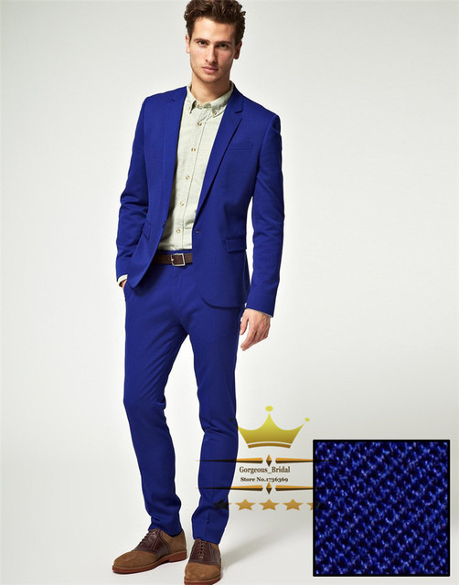 Mens Tuxedos Custom Made Royal Blue Grooms Men Suit Slim Fit Wedding Suits With Pants Notch