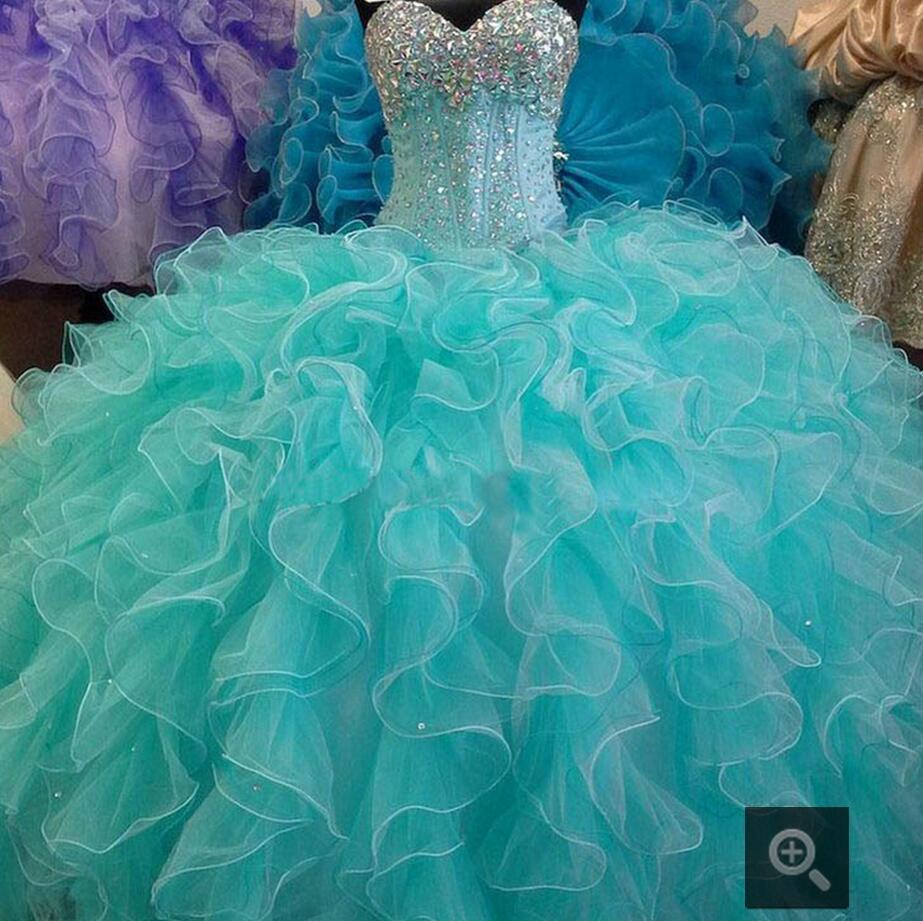 Vestiti Eleganti 15 Anni.Turchese Blu Quinceanera Abito Ball Gown Sweetheart Cristalli
