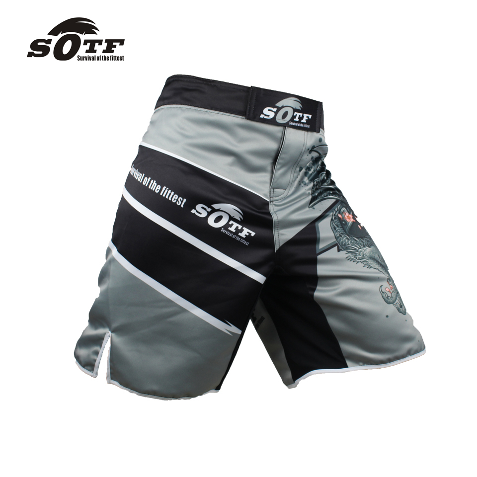 US $11 4 62% OFF|White dragon Eagle subtitles sports breathable cotton  loose boxing training pants mma short kickboxing shorts short muay thai-in