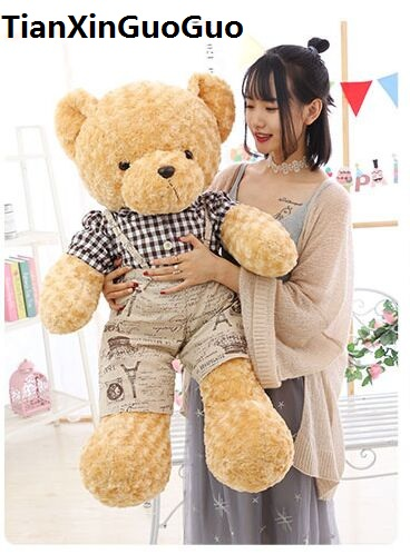 stuffed toy large 100cm cartoon teddy bear plush toy lovely dressed cloth bear soft doll hugging pillow birthday gift b0748 stuffed animal 120 cm cute love rabbit plush toy pink or purple floral love rabbit soft doll gift w2226