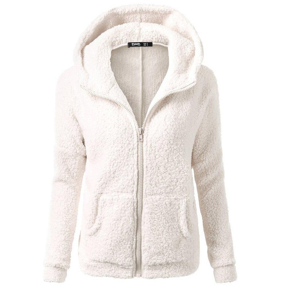 2018 Casual 5XL Plus Size Women Hooded Coat Outwear For Ladies Coat Winter Warm Wool with Zipper Cotton Soft Women Coat Abrigo