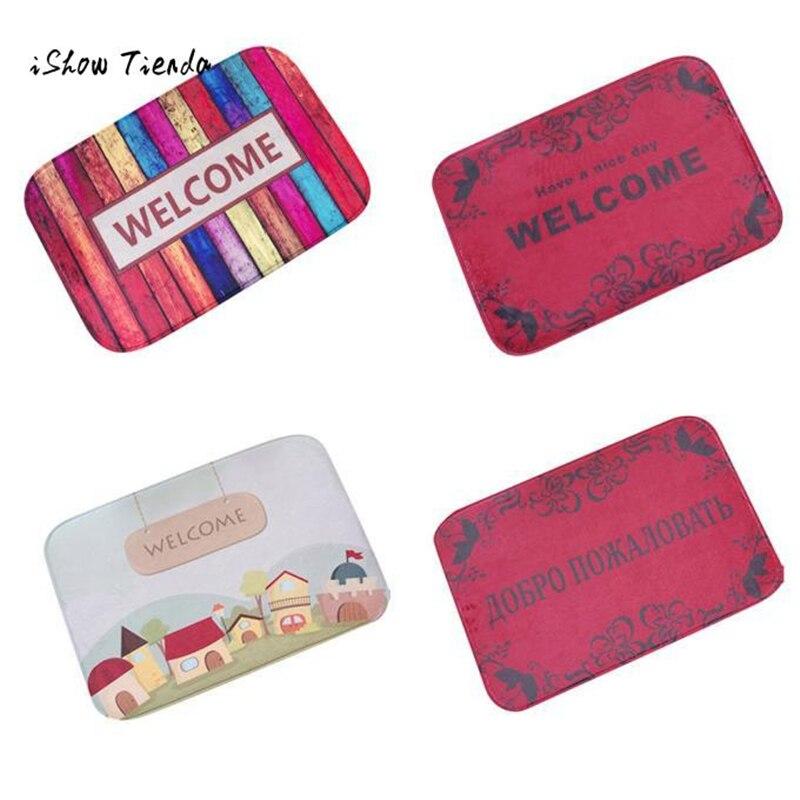 ISHOWTIENDA Hot 1pc 40cm*60cm Welcome Print Door Mat Kitchen Carpets Memory Foam Bathroom Absorbent Non-slip Mat New